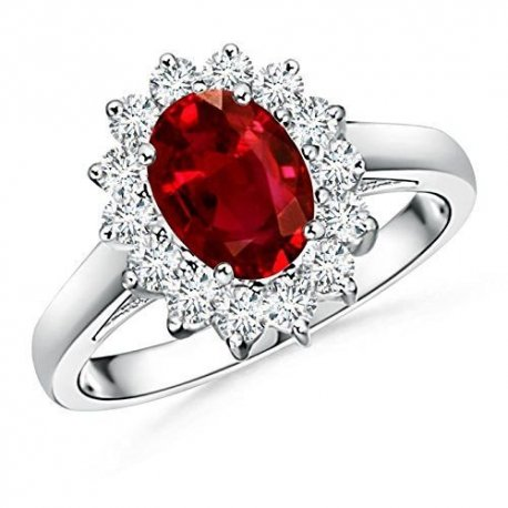 RING K18 WHITE GOLD WITH RUBY