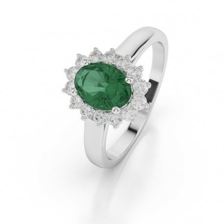 RING K18 WHITE GOLD WITH EMERALD