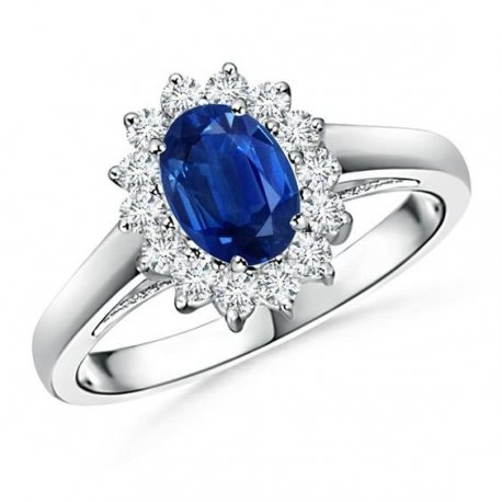 RING K18 WHITE GOLD WITH SAPPHIRE