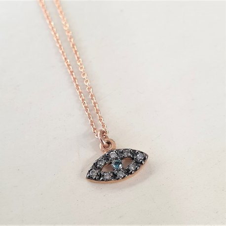 NECKLACE PINK GOLD K18 WITH DIAMONDS AND CHAIN