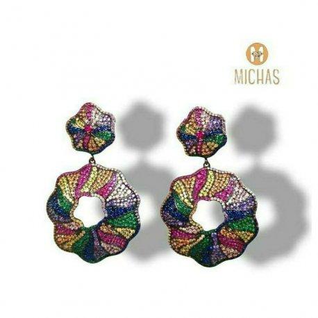 Multicolored chandelier earring silver 925