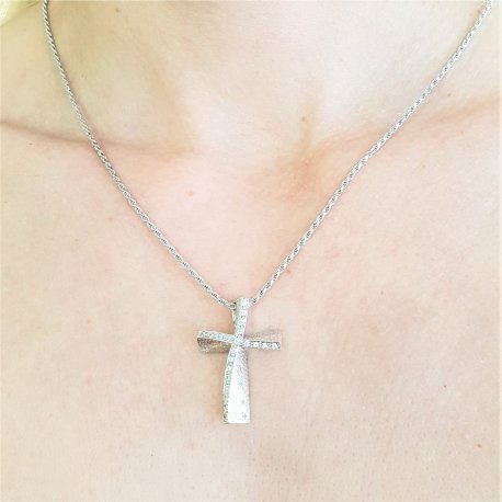 CROSS WHITE GOLD K14 WITH CHAIN