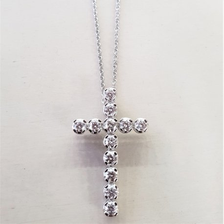 CROSS WHITE GOLD WITH DIAMONDS K18