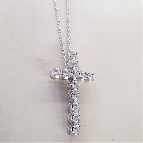 CROSS WHITE GOLD WITH DIAMONDS K18