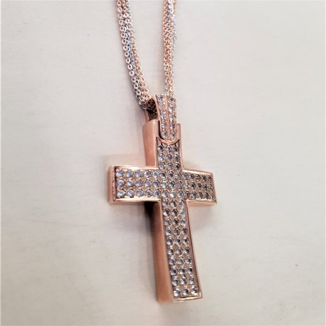 CROSS PINK GOLD WITH 6 CHAINS AND ZIRCON STONES K14