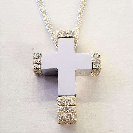 CROSS GOLD WITH WHITE GOLD K14 WITH STONES ZIRCON AND DOUBLE CHAIN